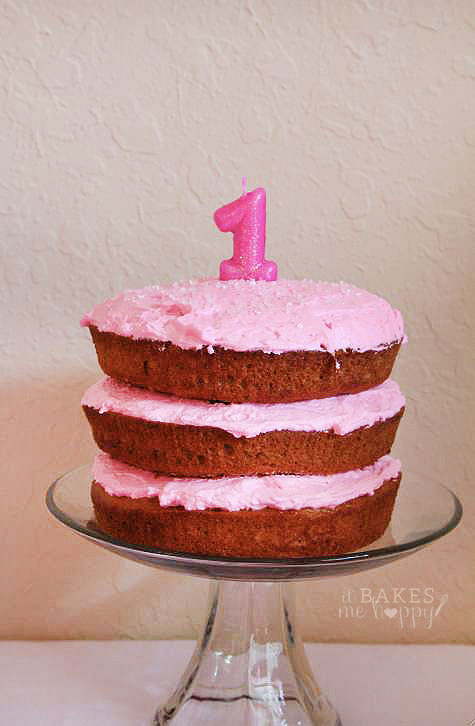 A perfectly pink 1st Birthday Cake that is great for little ones on a low sugar diet.