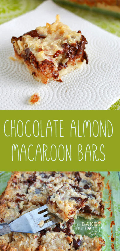 Chocolate Almond Macaroon Bars have a tender short bread layer on bottom and an ooey, gooey coconut, dark chocolate & almond top.