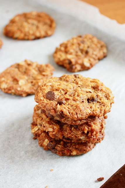 Thick, delicious Cowboy Cookies are loaded with coconut, chocolate, oats and pecans.