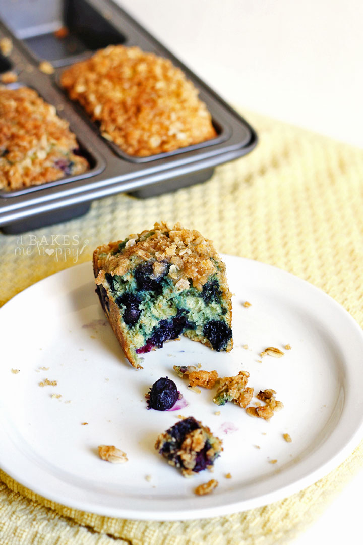 This Streusel Topped Blueberry Oat Bread comes together quick and is bursting with blueberries and topped with a delicious oat crumble and makes a great breakfast or snack.