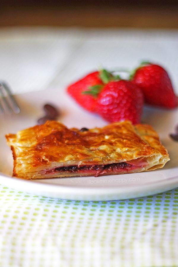 Dark Chocolate Strawberry Jalousie   It Bakes Me Happy