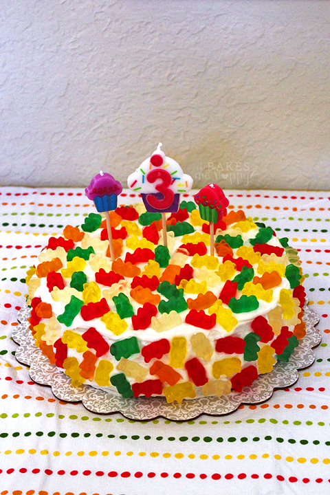 Vanilla Gummy Bear Cake | It Bakes Me Happy