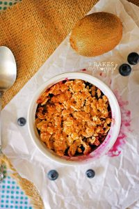 The sweet and tangy flavors of this Blueberry Kiwi Crisp are a fun change from the traditional apple crisp, tastes like summer in a bowl.