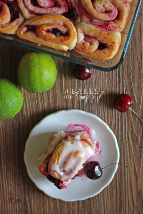 Cherry Limeade Sweet Rolls | it Bakes Me Happy