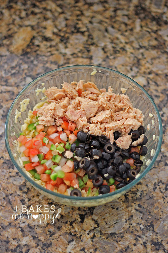 Tuna Vegetable Orzo Salad | It Bakes Me Happy