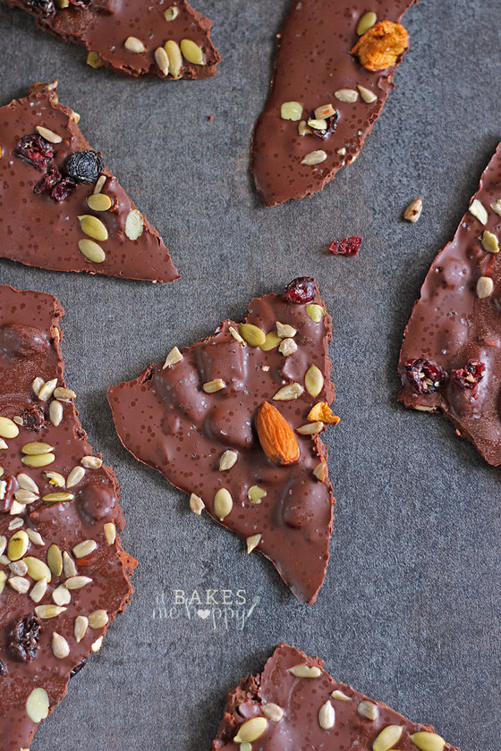 Dark Chocolate Pumpkin Cranberry Crave Bark