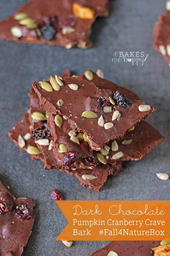 Dark Chocolate Pumpkin Cranberry Crave Bark #Fall4NatureBox