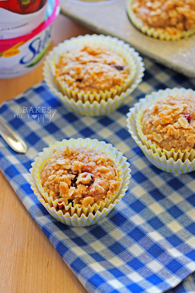 Black Cherry Streusel Muffins are dairy-free + vegan!  #SpoonfulOfSilk @LoveMySilk
