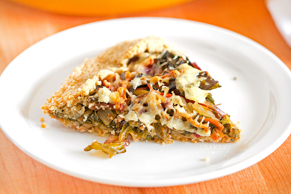 Gluten Free Swiss Chard & Mushroom Galette - tender, flaky crust filled with Swiss Chard, Portobello mushrooms, shredded carrots, white cheddar cheese. #BrunchWeek
