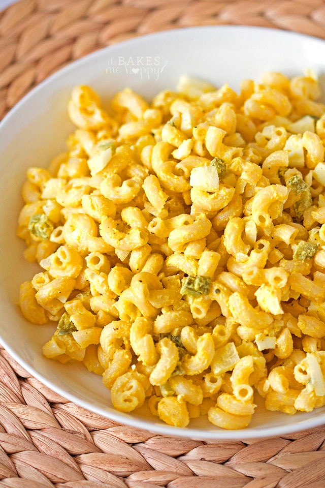 Serve up this Classic Macaroni Salad at your next backyard BBQ for a simple summer time side dish.
