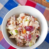 Enjoy this light, crunchy Cherry Almond Chicken Salad for lunch, it's perfect as a sandwich, on crackers or top salad greens!