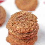 Chewy Chocolate Pecan Cookies are soft, chewy chocolate cookies studded with miniature chocolate chips, pecans and white chocolate.