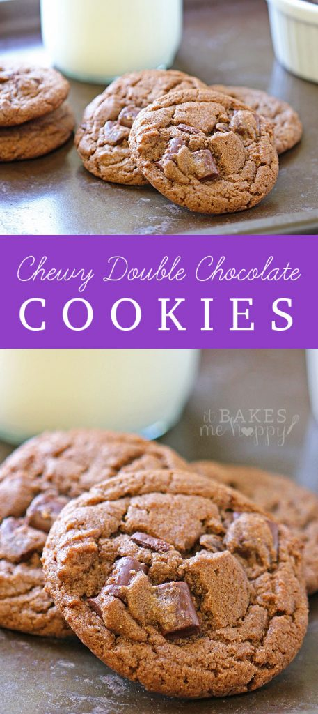 Chewy Double Chocolate Chunk Cookies - It Bakes Me Happy