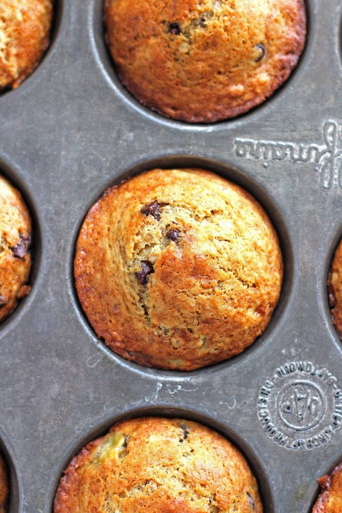 Chocolate chip banana nut muffins make an easy weekday breakfast.