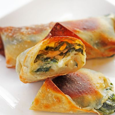 Cheesy Spinach Egg Rolls are the perfect appetizer for your holiday party or game day.