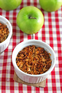 Enjoy this Quick Apple Crisp for dessert tonight, crunchy oats top this lightly, sweet cinnamon and apple blend.