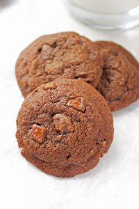 Dark Chocolate Cherry Cordial Cookies are perfect with a glass of milk