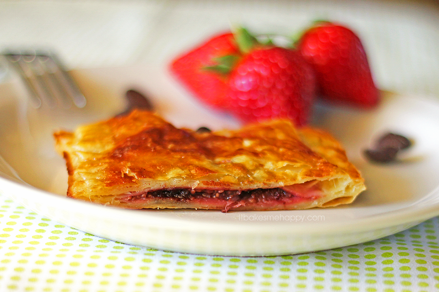 Dark Chocolate Strawberry Jalousie | It Bakes Me Happy